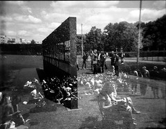 (Frau Luna) Tags: city houses people urban dublin streets berlin cars architecture analog mediumformat holga doubleexposure menschen stadt architektur autos huser urbanity strasen grosstadt ilfordhp5120