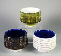 "Three Poole Pottery Studio bowls 1962-64 3.25"" (Psychoceramicus) Tags: uk guy art robert modern century studio 60s ceramics hand bowl tony retro pots dorset vase pottery jefferson 1960s morris collectables bowls mid sixties poole collectibles sydenham decorated thrown mcm poolepottery"