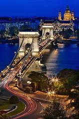 Chain Bridge & Blue Hour (Luís Henrique Boucault) Tags: travel blue sunset vacation colors night canon river europe hungary budapest east clear hour luis parlament hdr henrique 6d chainbridge danubio országház boucault