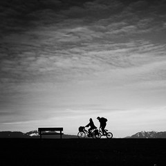 Terra Nova (. Jianwei .) Tags: sky bw scale silhouette vancouver bench couple candid richmond biker minimalism terranova jianwei kemily