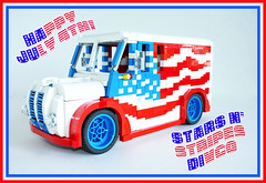 Stars n' Stripes Divco (Lino M) Tags: blue red white america truck stars milk day lego stripes 4th july dozen build independence martins challenge lino lugnuts bakers divco