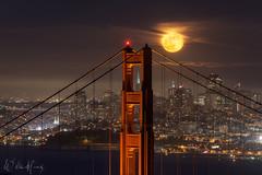 Bridge to the Moon (Willie Huang Photo) Tags: sf sanfrancisco california city bridge moon skyline night landscape cityscape goldengatebridge goldengate bayarea marinheadlands transamericapyramid