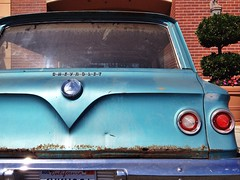 California Dreamin' (misterbigidea) Tags: stockton city urban beauty rearend parked commuter california chrome emblem badge auto classic car blue aqua patina crusty rusty wagon station brookwood chevy chevrolet 1961 trunkenvy surfwagon tail light red explore