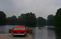 57 Chevy 42. (frankiszero) Tags: park city atlanta red urban lake reflection art belair water car fog project georgia toy miniature mini chevy journey conceptual piedmontpark toycar modelcar conceptualart