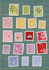Stoffbriefmarken / Fabric Stamps (ellis & higgs) Tags: vintage 1930s post stamps fabric reproduction postage 30s stoff briefmarken