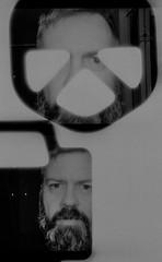 Selfies are the Key. (alienmeatsack) Tags: blackandwhite iso100 kodak objects multipleexposure yashicasamurai 13 doubles dektol aristaeduultra 3minutes