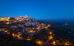 Gordes Blue Hour (Philipp Klinger Photography) Tags: road street longexposure blue trees houses light sunset sky orange house mountain france mountains tree green castle church nature yellow apt architecture night landscape gold lights hotel golden evening nikon frankreich long exposure slow wine tripod hill illumination paca hills valley hour slowshutter shutter bluehour provence chateau luberon gordes avignon d800 vaucluse lzb nikond800 nikon1635mmf4 nikon1635mmf4vr nikon1635f4 nikon1635f4vr