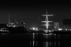 "Glenlee Ghost ""Explored"" (Glasgow_Matt) Tags: night river clyde boat blackwhite ship glasgow mast glenlee vision:mountain=0695 vision:outdoor=0732 vision:clouds=0889 vision:dark=0947 vision:sky=0944"