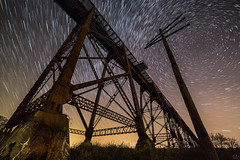 Space Train (Mike Orso) Tags: longexposure travel sky newyork motion metal night print stars landscape outdoors photography photo scenery gallery unitedstates image cloudy fineart scenic picture canvas astrophotography rotation startrails polaris northstar railroadtrestle newwindsor moodnaviaduct mikeorso