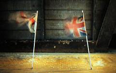 Britannia Dissolving (gagilas) Tags: londonbridge souvenirs britain flags westernunion londonatnight offlicenseshop
