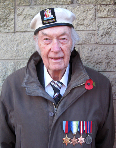 Roy Elwood with Arctic Star medal at Whickham Remembrance Day