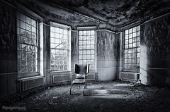 Room with a chair ... (sparkeyb) Tags: light blackandwhite bw abandoned window wet hospital mono blackwhite chair nikon closed decay sigma monotone creepy explore textures urbanexploration nhs disused rotten mould peelingpaint 1020mm asylum derelict essex colchester decaying damp textured psychiatric crumbling mentalhospital urbex mouldy urbexing severalls monotonal d7000 silverefex silverefexpro sparkeyb