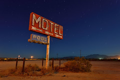 no early check-ins. yucca. az. 2013. (eyetwist) Tags: road longexposure arizona moon classic abandoned pool sign night america vintage dark stars typography photography route66 nikon waves desert tripod mother rusty motel roadtrip 66 gone fullmoon route moonlit type ameri