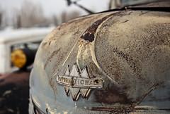 DSC_1736_international_truck_hood_bairoil (kdriese) Tags: usa abandoned america truck logo rust paint hood wyoming oldtruck internationaltruck reddesert kendriese nikond700 bairoil january2014