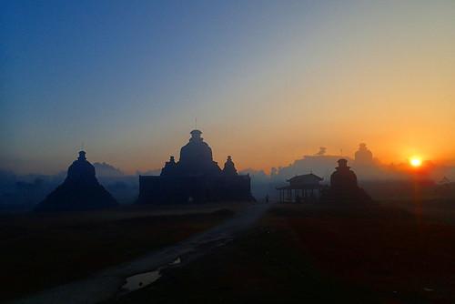 Sunrise in Mrauk U on Laymyetnha Paya