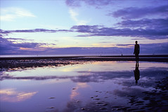 another evening (Ron Layters) Tags: leica sunset sea england sculpture reflection beach pool silh