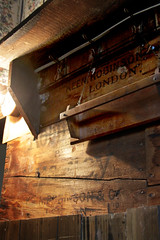 Attic Textures (lefeber) Tags: wood light house newyork lightbulb wall architecture rural town shadows village interior angles shelf worn attic smalltown hooks hudsonvalley highlandfalls