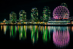Turn the Creek Green () Tags: park canada reflection green water colors skyline night vancouver lights colorful bc purple nightshot sony clear falsecreek scienceworld vancouverskyline telusworldofscience greenlights vancouvernightview hx50v sonydschx50v greeningthecreek