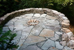 WM Dale Mitchell Landscape 2, Fire pit, Flat work, Retaining wall, dry laid stone construction, copyright 2014