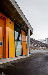 Concrete and Glass (Jan-Roger Olsen) Tags: orange building yellow norway norge no overcast april gul troms 2014 oransje overskyet byggning gullesfjord 2014april vegvesnet