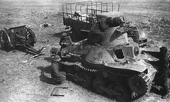 Soviet troops inspect a destroyed Type 95 Ha-Go light tank and other abandoned Japanese equipment after the battle of Khalkhin Gol