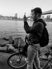 "Biker Snapshot (Santos ""Grim Santo"" Gonzalez) Tags: fttt instagram biker snapshot brooklyn ny streetphotographer nycstreets newyorkcity newyorknewyork storyofthestreet gothamist citylife sooc nyspc dumbonyc grimsanto night nyc streetphotography streettog samsung flickr samsungphoto bw blackandwhite monochrome"