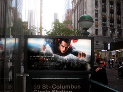 Superman 0356 (Brechtbug) Tags: street new york city nyc blue red man work dark comics painting movie poster square book dc paint theater comic near steel character alien bat working broadway s superman billboard advertisement adventure hero superhero billboards knight worker shield times insignia krypton 46th 2013