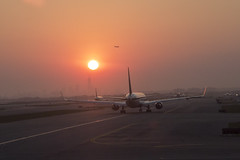 NYC JFK airport (Baristaa) Tags: nyc usa newyork night america canon airplane landscape eos airport nightshot unitedstates flight usm hazy runway efs airfield 1755 eos60d