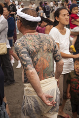 Tattoo old man (rokclmb) Tags: beach festival japan tattoo japanese kamakura celebration kanagawa matsuri mikoshi zaimokuza rokclmb jessederiksen