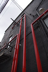 (Shane Henderson) Tags: red black art architecture stairs pittsburgh pipes steps northside fireescape weights mattressfactory centralnorthside