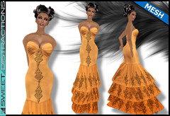 Mesh Tiered Lace Mermaid Gown in Pumpkin (Sweet Distractions) Tags: life mesh sweet lace sl bridesmaid second gown mermaid rigged distractions
