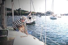 Marieiro (toninhodacantina) Tags: viaje sunset sea summer sun sailboat puerto lumix mar spain barco panasonic galicia galiza verano 20mm sailor marino velero marinero f17 galician marieiro gx1