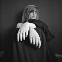 Hands (MaxPirsky) Tags: portrait white black 120 film girl rollei 400 medium format pentacon six p6 rpx