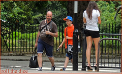 `910 (roll the dice) Tags: park camera uk portrait people urban sexy london art classic fashion shopping hair amazing long pretty chelsea colours child natural legs candid strangers streetphotography moustache cap statement unknown heels shorts wisdom capture unaware sw1 londonist kensingtonchelsea sw3