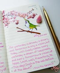 "Page : "" This Day "" (Milagritos9) Tags: flowers tree handwritten peachtree birdportrait mily birdillustration sanskritpoem birdjournal inspirationaljournal milycha diarioilustrado pjaroillustracin dreamsjournal moleskineartpages todybird milagritosflores birddiary2013 birddiarymoleskine lipopoem chineseproverbillustration taoistpoem thisdaypoem estedapoesa"