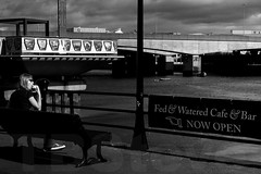 Fed & Watered (TBSteve) Tags: street woman white black river lunch eating seat belfast fed watered