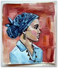 blue floral bandana (Regina Lord (creative kismet)) Tags: woman art girl portraits painting acrylic