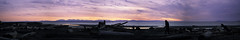 orange sky panorama (Asher Isbrucker) Tags: ocean sunset summer sky orange mountains beach silhouette vancouver clouds sand britishcolumbia horizon ubc driftwood colourful westcoast wreckbeach beachwood