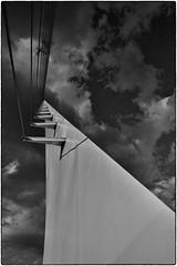 Sundial Bridge, Redding, CA, September 17, 2013 (Maggie Osterberg) Tags: california leica bw mom blackwhite redding carlzeiss sundialbridge maggieo m9p silverefexpro2 zeisscbiogon3528 travelswithmom2013