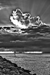 Sunburst at the Jetty BW (DonMiller_ToGo) Tags: sunset bw clouds jetty sunburst hdr gf1 3xp fav5 views100 views200 hdrphotography hdranything