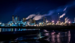 Oil Refinery (craigbennett.me) Tags: city sky urban colour reflection industry night dark stars lights smoke towers atmosphere steam flare bp tanks grangemouth oilrefinery