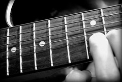Bend (Adam Meaney) Tags: bw white black bend guitar fingers fender fret fretboard odc stratacoustic highb