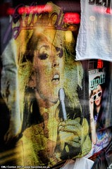 I'm in the phone booth, it's the one across the hall, London, 2013 (MJ_Conlon) Tags: street reflection london window shop shirt reflections t harry deborah debbie blondie