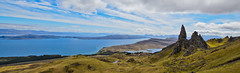 Old Man Of Storr Pano (stumpyheaton) Tags: old uk blue sky panorama white lake man skye green grass clouds landscape outside island nikon rocks pano trails hills isle vapour storr d5100