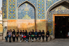 locals and the tourist (dawvon) Tags: world travel people architecture tile nikon asia iran middleeast tourist nikkor esfahan isfahan lenses historicalbuilding imamsquare tilework  imammosque fmount persianarchitecture islamicrepublicofiran isfahanprovince safaviddynasty shahsquare naqshejahansquare iranianarchitecture  jamehabbasimosque westernasia esfahanprovince   persiantilework   theshahmosque safavidiranianarchitecture iraniantilework afsnikkor24120mmf4gedvr imammosqueisfahan persia