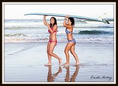 best friends surf (liipgloss) Tags: ocean girls beach fun surf friendship photoshoot bikini surfboard laughter swimwear