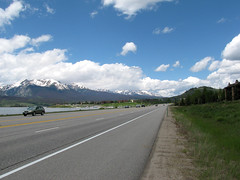 Mountain Panorama (Lunken Spotter) Tags: road sky terrain mountain lake snow mountains west cars nature water clouds buildings landscape town highway colorado unitedstates natural lakes bluesky reservoir snowcapped western co dillon rockymountains blueskies geology peaks dillonreservoir