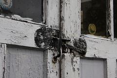 Garage Latch (lefeber) Tags: wood windows newyork architecture rural town doors village garage angles worn peelingpaint smalltown latch hudsonvalley highlandfalls