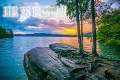 HE IS RISEN! (AgFineArtPhotography.com) Tags: statepark park morning travel blue camping trees sunset panorama sun mountain lake reflection nature water ecology colors beautiful clouds forest sunrise landscape site woods scenery view christ state god outdoor hiking south faith jesus scenic roots fork lord hike system hills ridge believe carolina vista bible lives gorge outlook smoky walhalla root appalachia christians almighty ecosystem everlasting jocassee heisrisen risenindeedn