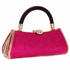กระเป๋าคลัทช์ออกงานแฟชั่นเกาหลีดีไซน์กลิ้ตเตอร์สายหนังถักหรูหราเข้าชุดราตรี นำเข้า สีชมพู - พร้อมส่งAP2541 ราคา1500บาท สำหรับผู้หญิงที่ต้องการกระเป๋าออกงานราตรีและกระเป๋าไปงานแต่งงานสไตล์กระเป๋าถือให้สวยเข้าชุดราตรีสุดหรูต้องมีกระเป๋าออกงานแบบกระเป๋าแฟชั่